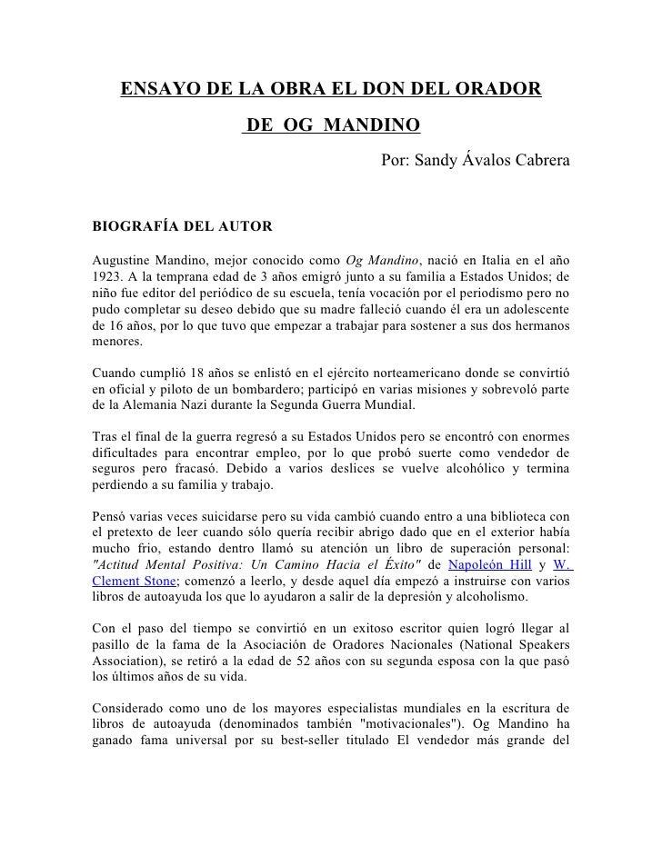 ENSAYO DE LA OBRA EL DON DEL ORADOR                           DE OG MANDINO                                               ...