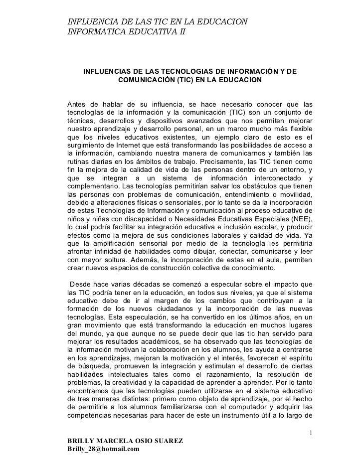 INFLUENCIA DE LAS TIC EN LA EDUCACION INFORMATICA EDUCATIVA II         INFLUENCIAS DE LAS TECNOLOGIAS DE INFORMACIÓN Y DE ...
