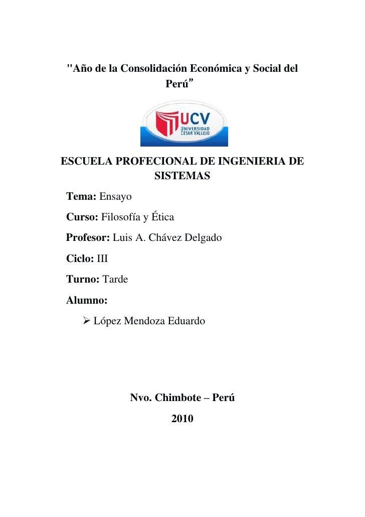 """"""" Año de la Consolidación Económica y Social del Perú""""<br /> <br />ESCUELA PROFECIONAL DE INGENIERIA DE SISTEMAS<br />    ..."""