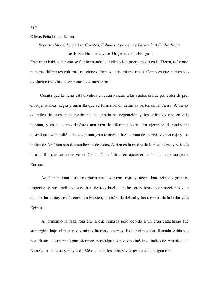 317Olivas Peña Diana Karen      Reporte (Mitos, Leyendas, Cuentos, Fábulas, Apólogos y Parábolas) Emilio Rojas            ...