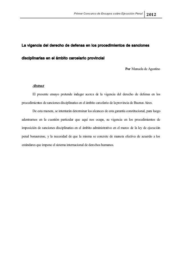 Primer Concurso de Ensayos sobre Ejecución Penal                                                                          ...