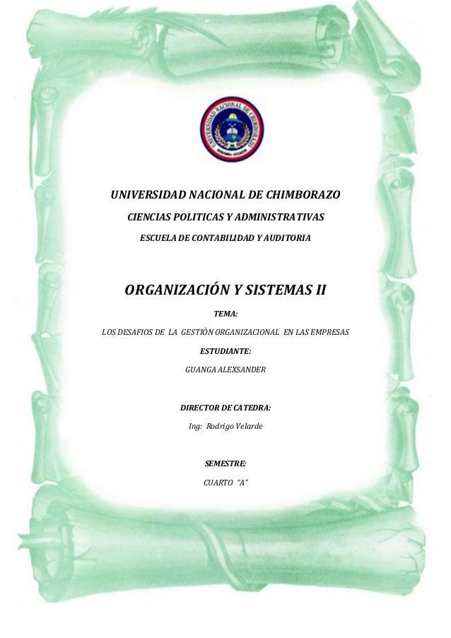 UNIVERSIDAD NACIONAL DE CHIMBORAZO CIENCIAS POLITICAS Y ADMINISTRATIVAS ESCUELA DE CONTABILIDAD Y AUDITORIA  UNIVERSIDAD N...