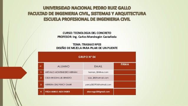 CURSO: TECNOLOGIA DEL CONCRETO PROFESOR: Ing. Carlos Mondragón Castañeda TEMA: TRABAJO Nº03 DISEÑO DE MEZCLA PARA PILAR DE...
