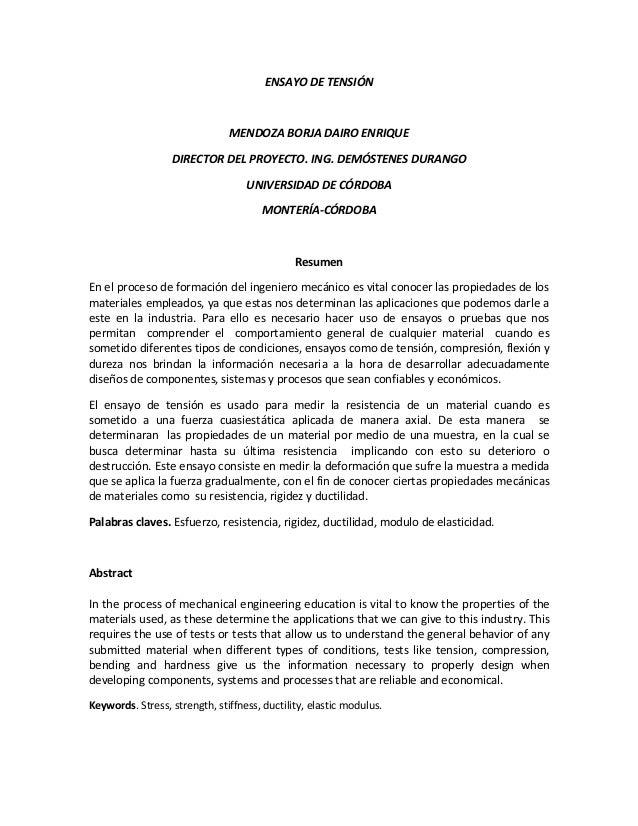 ENSAYO DE TENSIÓN  MENDOZA BORJA DAIRO ENRIQUE DIRECTOR DEL PROYECTO. ING. DEMÓSTENES DURANGO UNIVERSIDAD DE CÓRDOBA MONTE...