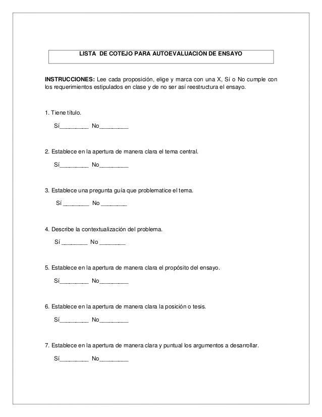 LISTA DE COTEJO PARA AUTOEVALUACIÓN DE ENSAYOINSTRUCCIONES: Lee cada proposición, elige y marca con una X, Sí o No cumple ...
