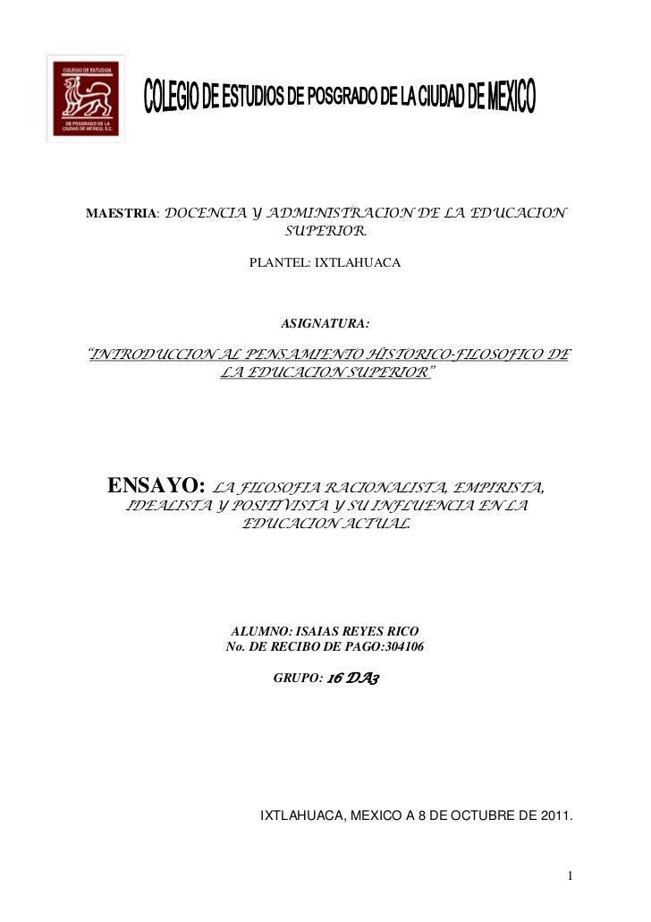 MAESTRIA: DOCENCIA Y ADMINISTRACION DE LA EDUCACION                      SUPERIOR.                  PLANTEL: IXTLAHUACA   ...