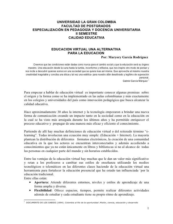 UNIVERSIDAD LA GRAN COLOMBIA                        FACULTAD DE POSTGRADOS          ESPECIALIZACIÓN EN PEDAGOGÍA Y DOCENCI...