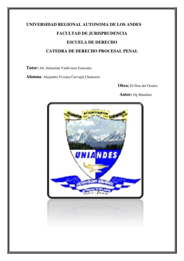 UNIVERSIDAD REGIONAL AUTONOMA DE LOS ANDES<br />FACULTAD DE JURISPRUDENCIA<br />ESCUELA DE DERECHO<br />CATEDRA DE DERECHO...