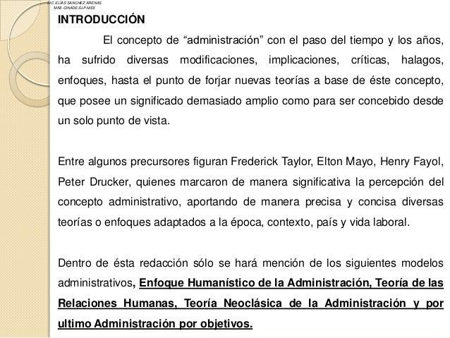 """LIC. ELÍAS SANCHEZ ARENAS   MAE-CINADE-SLP-MEX    INTRODUCCIÓN                            El concepto de """"administración"""" ..."""