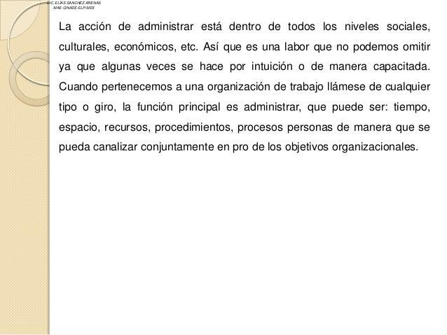 LIC. ELÍAS SANCHEZ ARENAS   MAE-CINADE-SLP-MEX     La acción de administrar está dentro de todos los niveles sociales,    ...