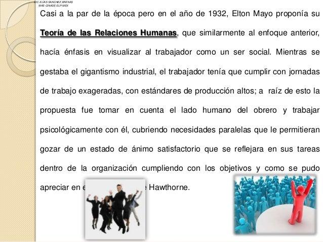 LIC. ELÍAS SANCHEZ ARENAS   MAE-CINADE-SLP-MEX   Casi a la par de la época pero en el año de 1932, Elton Mayo proponía su ...