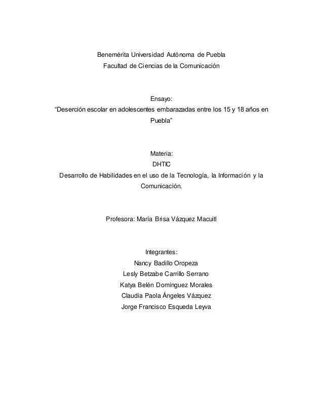 """Benemérita Universidad Autónoma de Puebla  Facultad de Ciencias de la Comunicación  Ensayo:  """"Deserción escolar en adolesc..."""