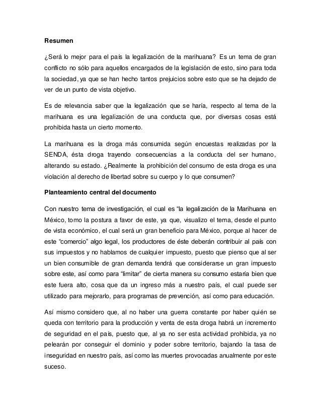Legalización de la Marihuana (Ensayo)