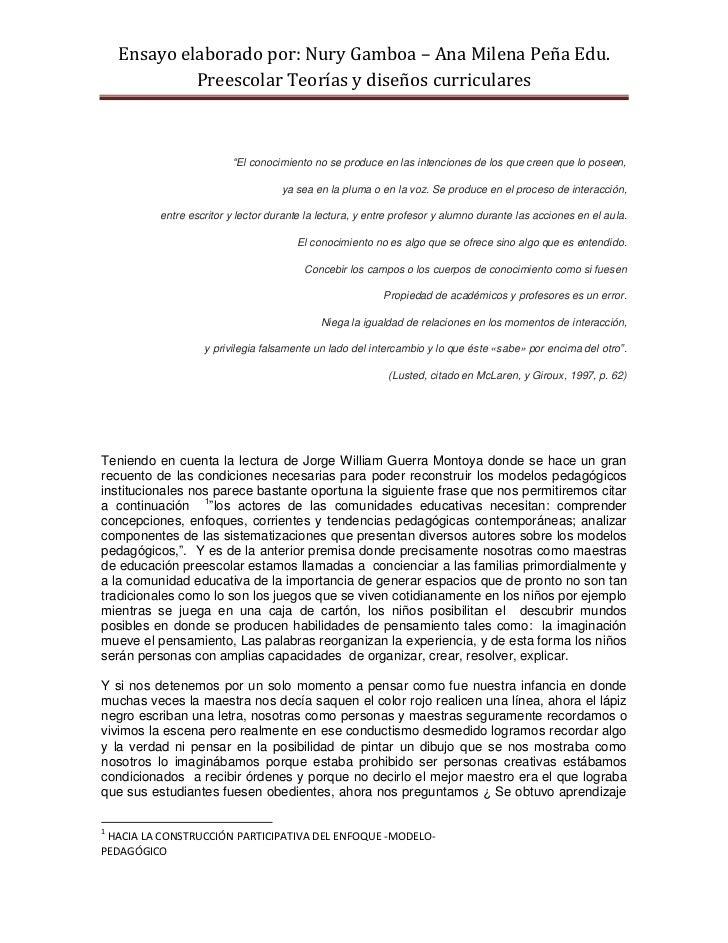 Ensayo elaborado por: Nury Gamboa – Ana Milena Peña Edu.             Preescolar Teorías y diseños curriculares            ...
