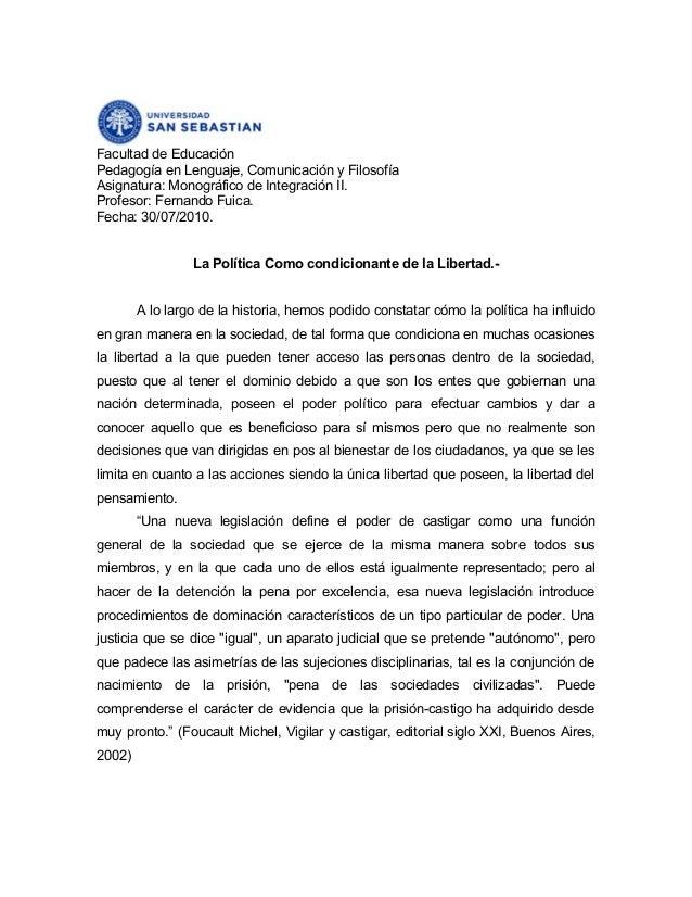 Facultad de Educación Pedagogía en Lenguaje, Comunicación y Filosofía Asignatura: Monográfico de Integración II. Profesor:...