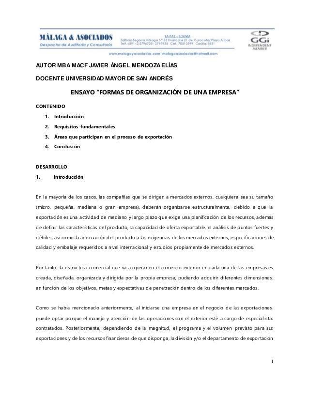 """AUTOR MBA MACF JAVIER ÁNGEL MENDOZAELÍAS DOCENTE UNIVERSIDAD MAYOR DE SAN ANDRÉS 1 ENSAYO """"FORMAS DE ORGANIZACIÓN DE UNA E..."""