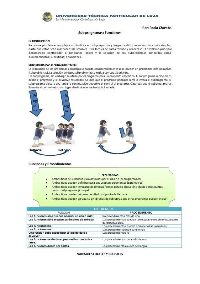 Por: Paola Chamba                                       Subprogramas: FuncionesINTRODUCCIÓNSoluciona problemas complejos a...