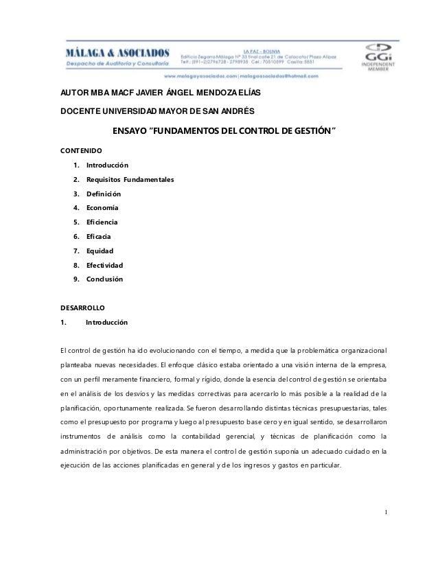 """AUTOR MBA MACF JAVIER ÁNGEL MENDOZAELÍAS DOCENTE UNIVERSIDAD MAYOR DE SAN ANDRÉS 1 ENSAYO """"FUNDAMENTOS DEL CONTROL DE GEST..."""