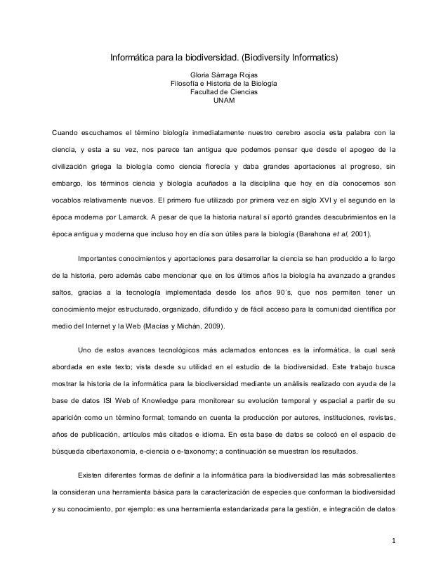 Informática para la biodiversidad. (Biodiversity Informatics) Gloria Sárraga Rojas Filosofía e Historia de la Biología Fac...