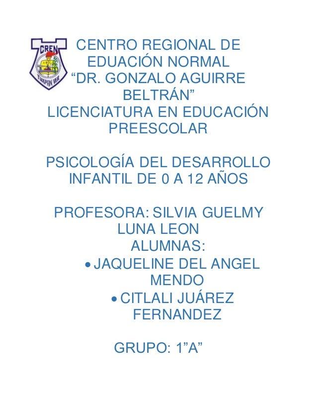 """CENTRO REGIONAL DE EDUACIÓN NORMAL """"DR. GONZALO AGUIRRE BELTRÁN"""" LICENCIATURA EN EDUCACIÓN PREESCOLAR PSICOLOGÍA DEL DESAR..."""