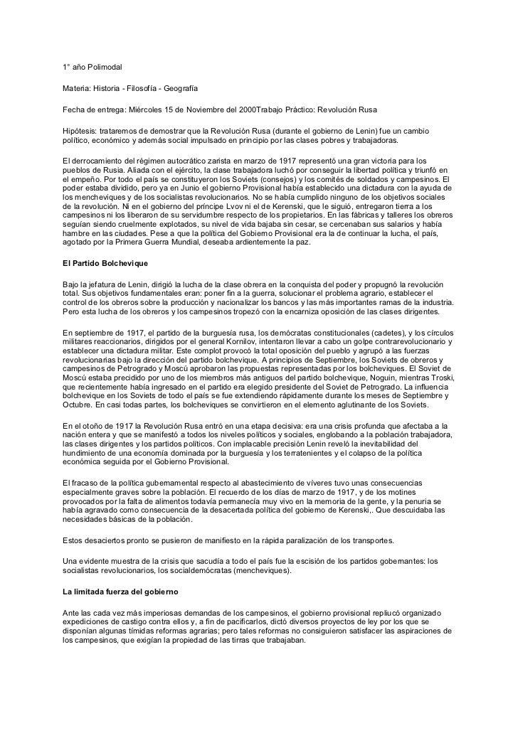 1° año PolimodalMateria: Historia - Filosofía - GeografíaFecha de entrega: Miércoles 15 de Noviembre del 2000Trabajo Práct...