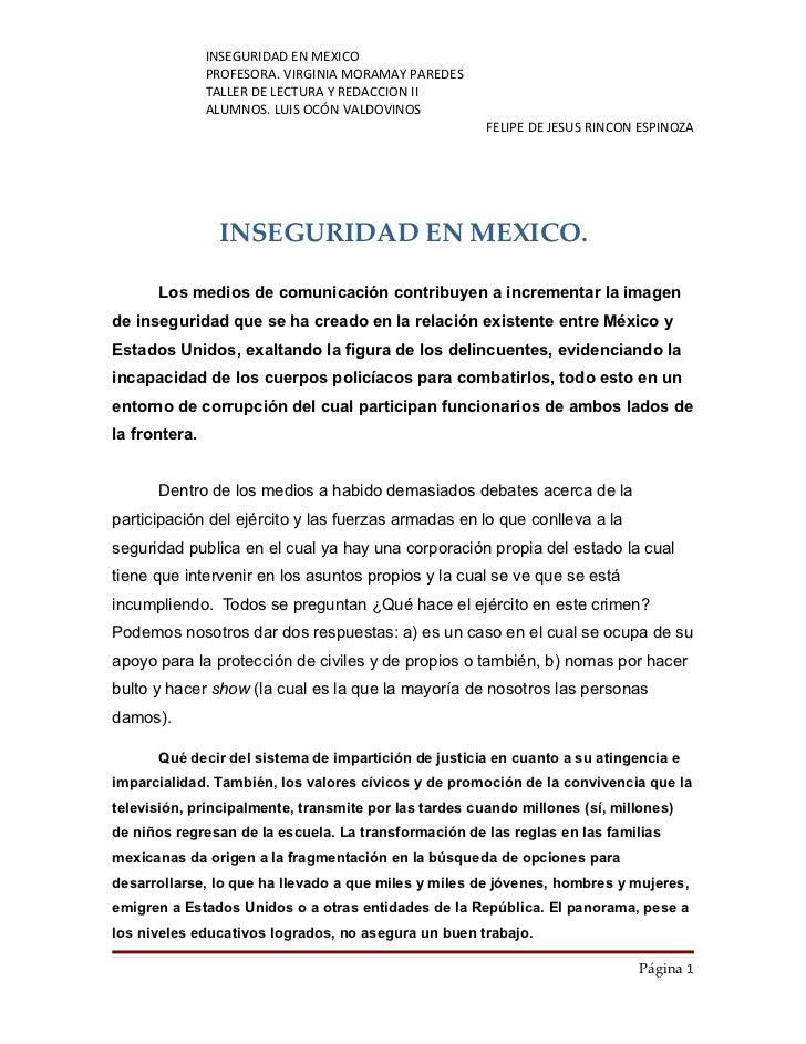 INSEGURIDAD EN MEXICO                PROFESORA. VIRGINIA MORAMAY PAREDES                TALLER DE LECTURA Y REDACCION II  ...