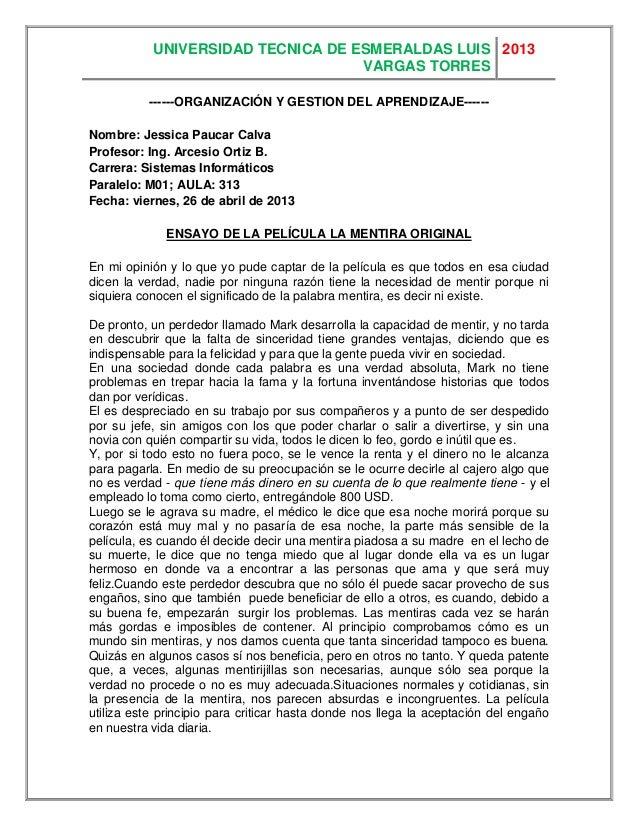 UNIVERSIDAD TECNICA DE ESMERALDAS LUISVARGAS TORRES2013------ORGANIZACIÓN Y GESTION DEL APRENDIZAJE------Nombre: Jessica P...