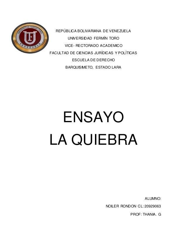 REPÚBLICA BOLIVARIANA DE VENEZUELA UNIVERSIDAD FERMÍN TORO VICE- RECTORADO ACADEMICO FACULTAD DE CIENCIAS JURÍDICAS Y POLÍ...