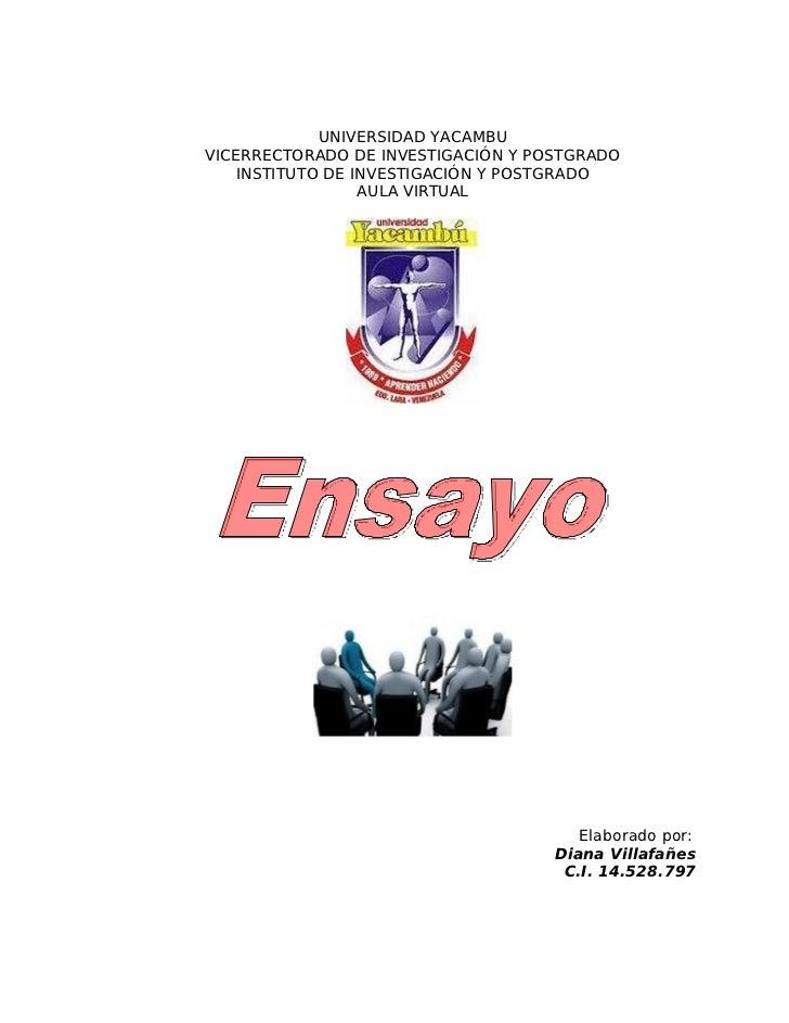 UNIVERSIDAD YACAMBUVICERRECTORADO DE INVESTIGACIÓN Y POSTGRADO    INSTITUTO DE INVESTIGACIÓN Y POSTGRADO                  ...