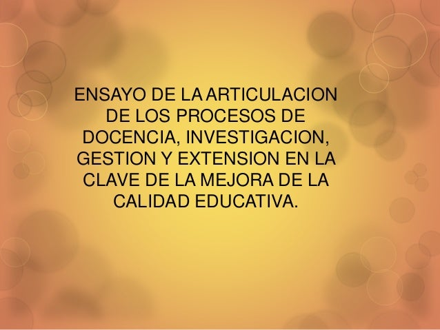 ENSAYO DE LA ARTICULACION  DE LOS PROCESOS DE  DOCENCIA, INVESTIGACION,  GESTION Y EXTENSION EN LA  CLAVE DE LA MEJORA DE ...