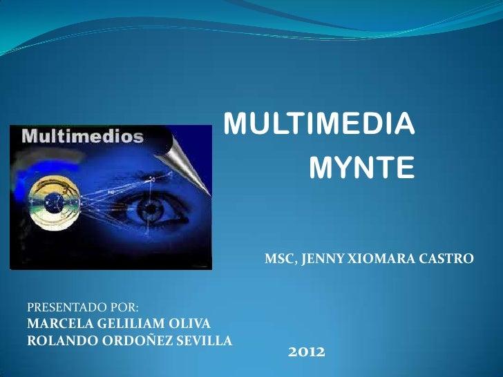 MULTIMEDIA                         MYNTE                          MSC, JENNY XIOMARA CASTROPRESENTADO POR:MARCELA GELILIAM...
