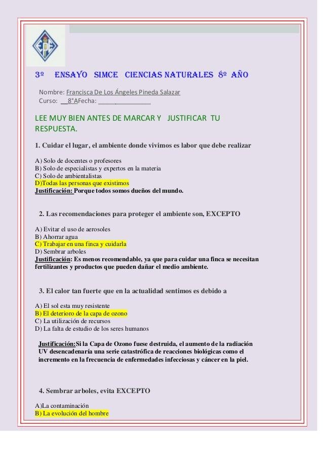 3º    ENSAYO SIMCE CIENCIAS NATURALES 8º AÑO  Nombre: Francisca De Los Ángeles Pineda Salazar Curso: __8°AFecha: _______...