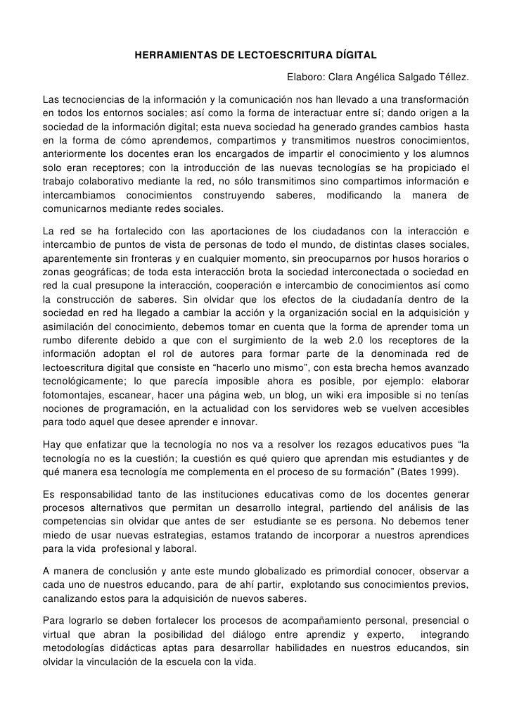 HERRAMIENTAS DE LECTOESCRITURA DÍGITAL                                                      Elaboro: Clara Angélica Salgad...