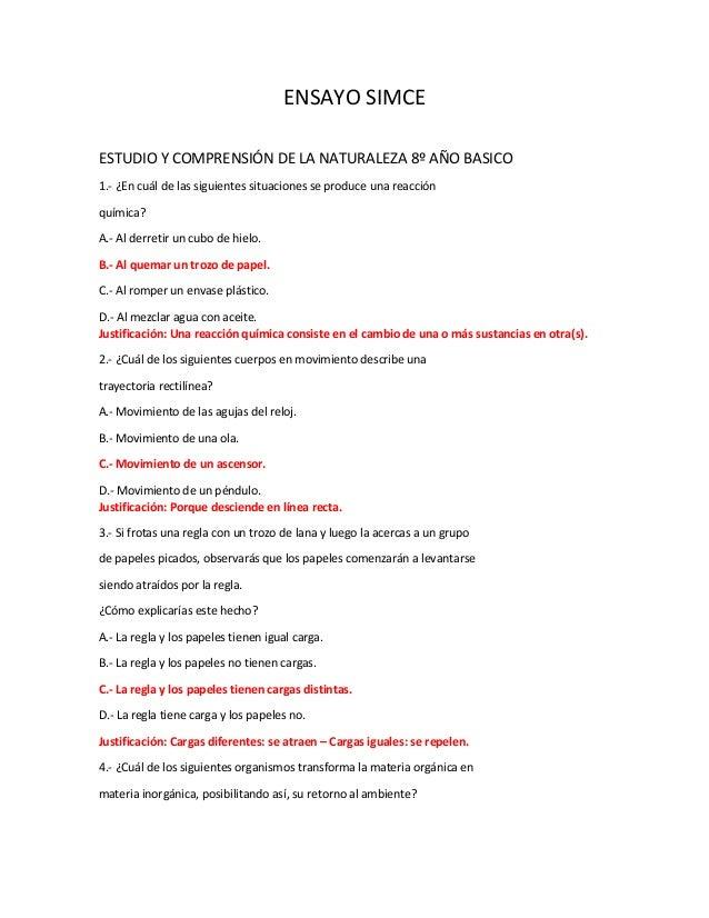 ENSAYO SIMCE ESTUDIO Y COMPRENSIÓN DE LA NATURALEZA 8º AÑO BASICO 1.- ¿En cuál de las siguientes situaciones se produce un...