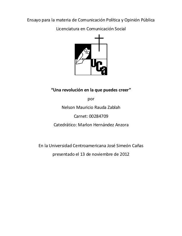 Ensayo para la materia de Comunicación Política y Opinión Pública              Licenciatura en Comunicación Social        ...