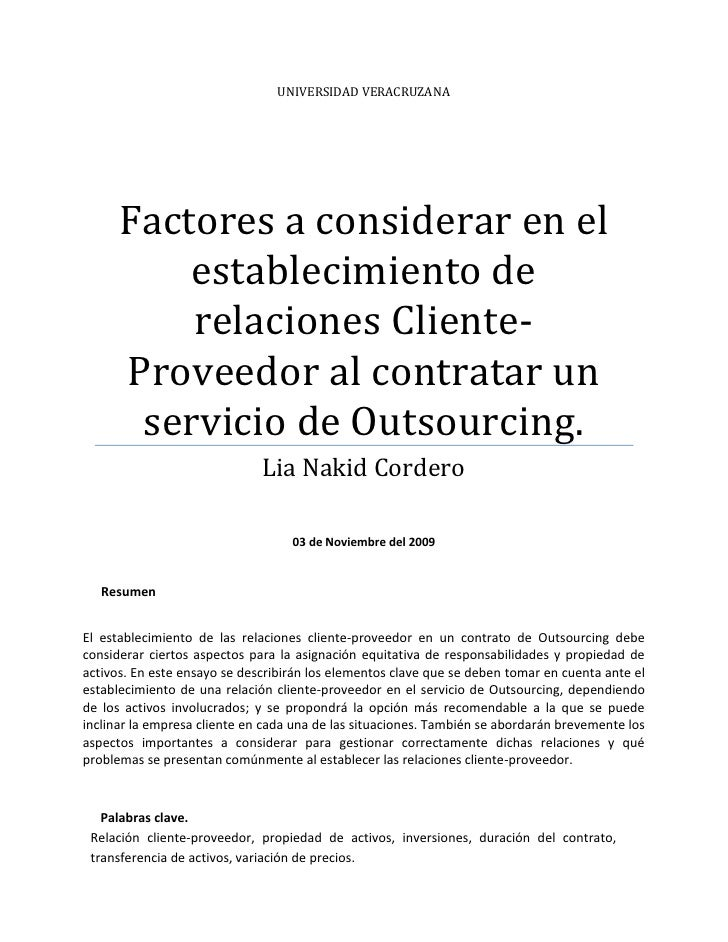 Universidad veracruzanaFactores a considerar en el establecimiento de relaciones Cliente-Proveedor al contratar un servici...