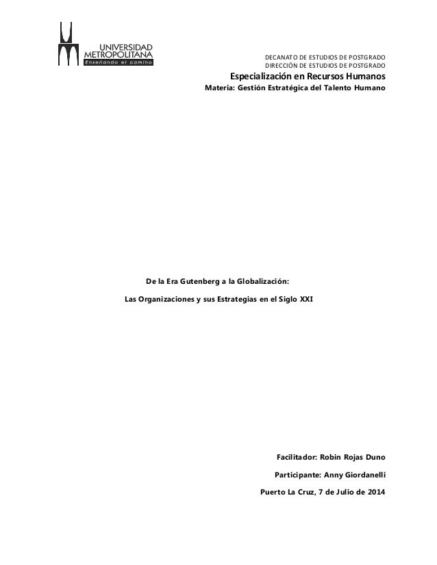 DECANATO DE ESTUDIOS DE POSTGRADO DIRECCIÓN DE ESTUDIOS DE POSTGRADO Especialización en Recursos Humanos Materia: Gestión ...