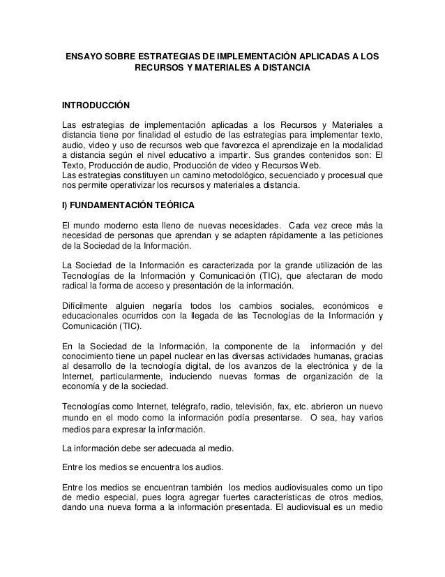 ENSAYO SOBRE ESTRATEGIAS DE IMPLEMENTACIÓN APLICADAS A LOS             RECURSOS Y MATERIALES A DISTANCIAINTRODUCCIÓNLas es...