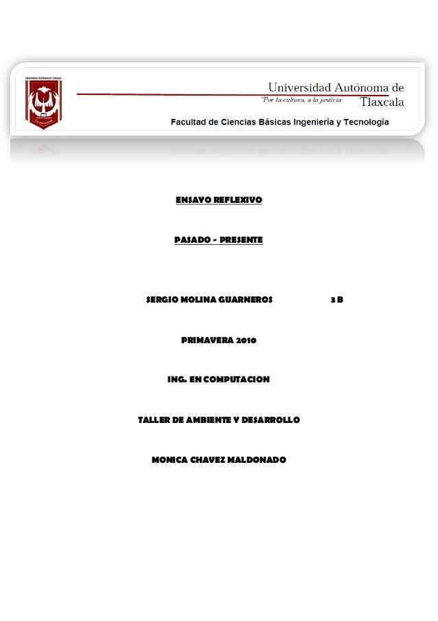 ENSAYO REFLEXIVO PASADO - PRESENTE SERGIO MOLINA GUARNEROS 3 B PRIMAVERA 2010 ING. EN COMPUTACION TALLER DE AMBIENTE Y DES...