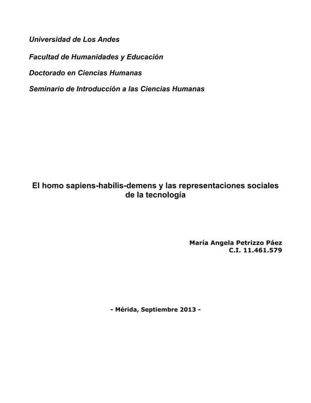 Universidad de Los Andes Facultad de Humanidades y Educación Doctorado en Ciencias Humanas Seminario de Introducción a las...