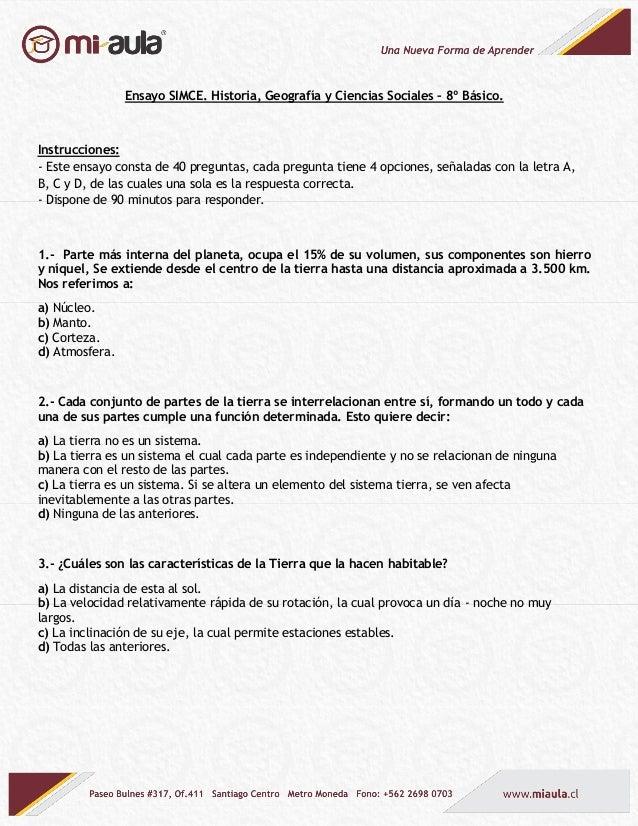 Ensayo SIMCE. Historia, Geografía y Ciencias Sociales – 8º Básico. Instrucciones: - Este ensayo consta de 40 preguntas, ca...