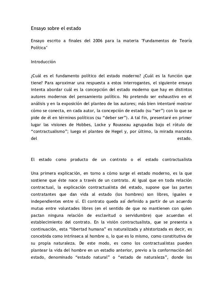 """Ensayo sobre el estado <br />Ensayo escrito a finales del 2006 para la materia """"Fundamentos de Teoría Política""""Introducció..."""