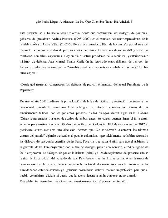 Ensayo sobre el tratado de paz y el plebicito 2016