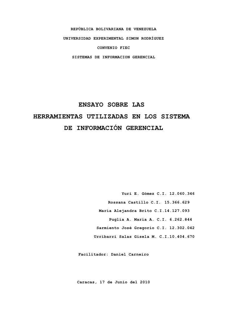 REPÚBLICA BOLIVARIANA DE VENEZUELA         UNIVERSIDAD EXPERIMENTAL SIMON RODRÍGUEZ                      CONVENIO FIEC    ...