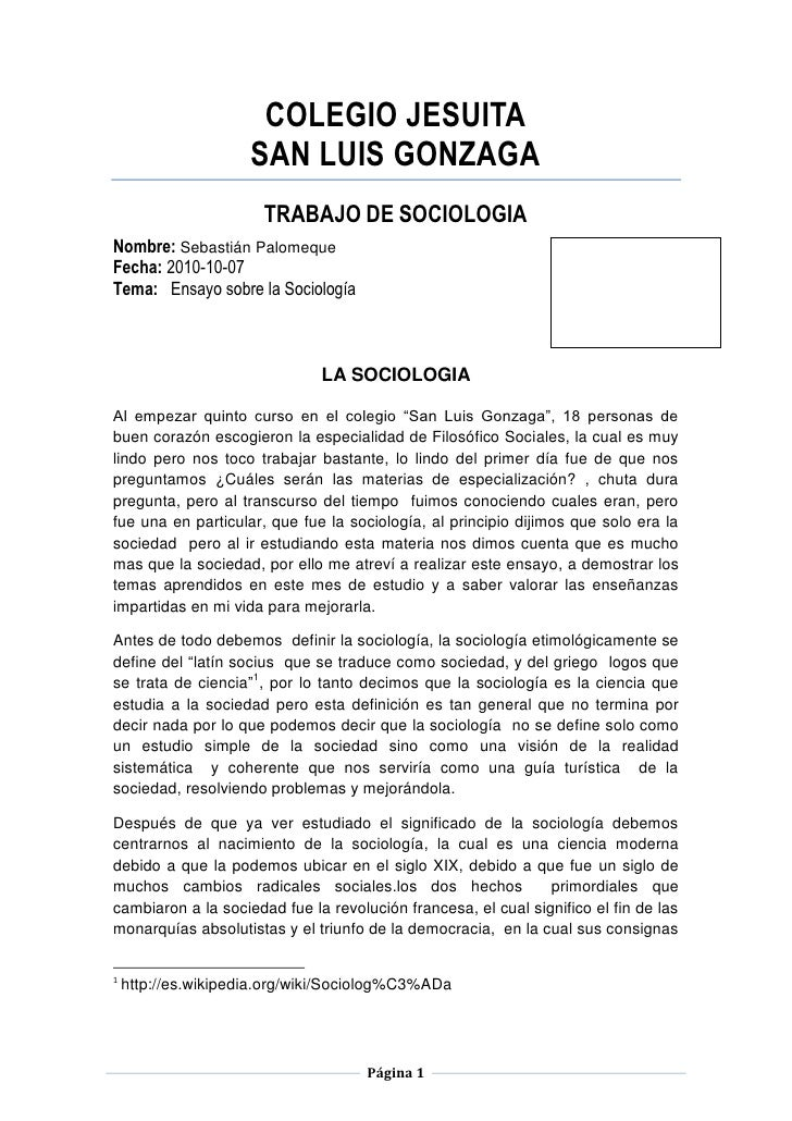 COLEGIO JESUITA<br />SAN LUIS GONZAGA<br />TRABAJO DE SOCIOLOGIA<br />Nombre: Sebastián Palomeque                    Calif...