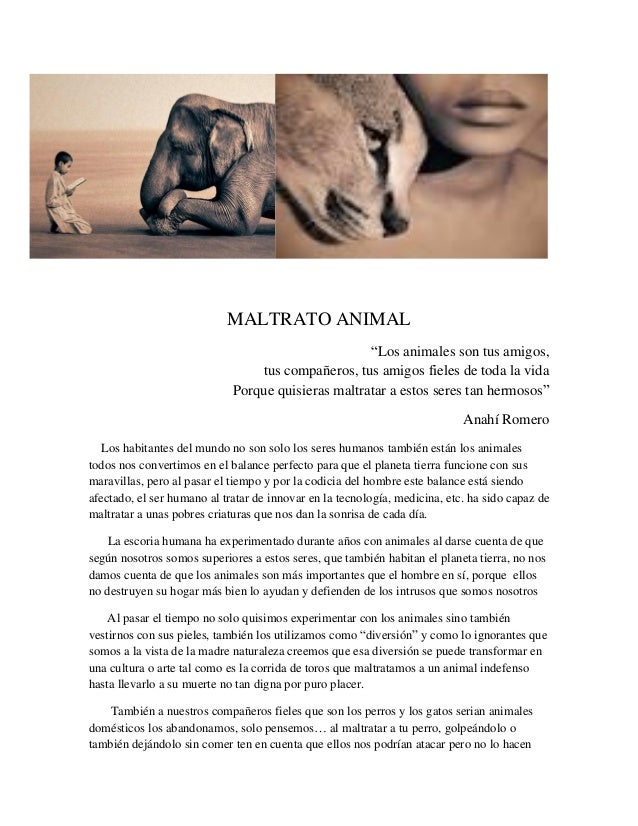 """MALTRATO ANIMAL """"Los animales son tus amigos, tus compañeros, tus amigos fieles de toda la vida Porque quisieras maltratar..."""