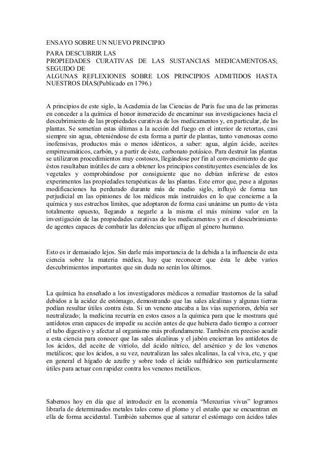 ENSAYO SOBRE UN NUEVO PRINCIPIO PARA DESCUBRIR LAS PROPIEDADES CURATIVAS DE LAS SUSTANCIAS MEDICAMENTOSAS; SEGUIDO DE ALGU...