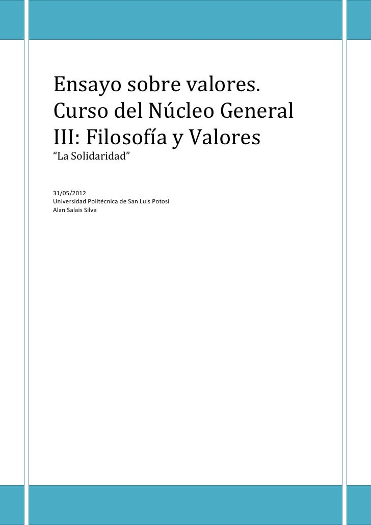 Ensayo sobre los valores (Solidaridad)