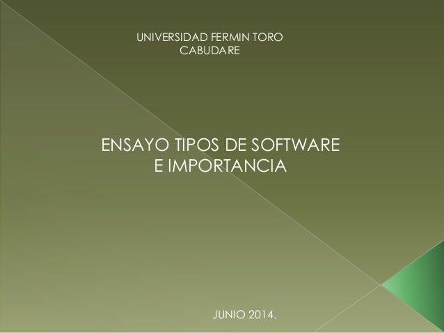 UNIVERSIDAD FERMIN TORO CABUDARE ENSAYO TIPOS DE SOFTWARE E IMPORTANCIA JUNIO 2014.