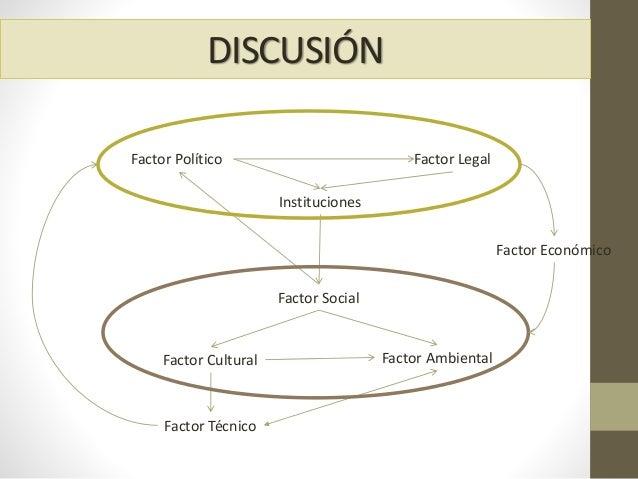 DISCUSIÓN Factor Social Factor Cultural Factor Ambiental Factor Político Factor Técnico Factor Legal Instituciones Factor ...